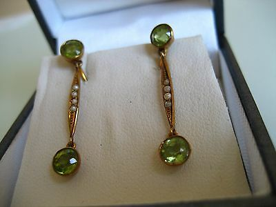 Antique Art Deco 14 K Gold Peridot Gemstone And Seed Pearl Drop Earrings