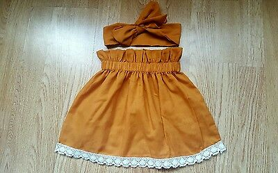 Beautiful Summer Plain colour Baby's Skirt and Headwrap New