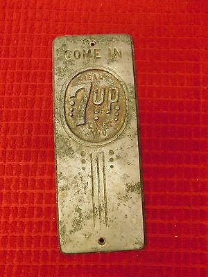 Vintage ~ 7 UP Metal Door Push ~ Very Rare ~ Ships for Free