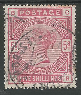 Sg180 1884 Qv 5/- Rose (Gb)   Fine Used  Cat £250