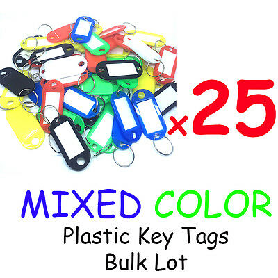 Plastic Key Tags x25 Bulk Lot MIXED COLORS-  ID TAGS - Keyring  Bulk- AU SELLER