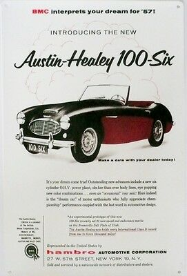 AUSTIN - HEALY 100 - SIX 1957  Metal tin Sign