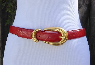 Vintage Red Leather Belt with Gold Tone Metallic Matte Buckle