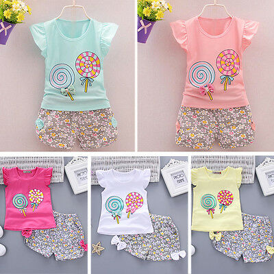 Newborn Toddler Kids Baby Girl Outfit Lolly T-shirt Tops+Short Pants Clothes Set