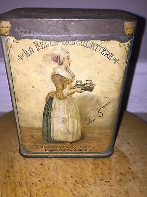 Early Rare Paper Label Baker's Chocolate  Advertising Breakfast Cocoa Tin Box