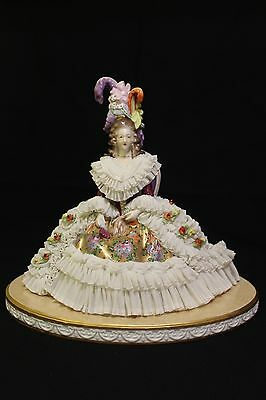 Spectacular Volkstedt Dresden Porcelain Lace Figurine Seating Lady