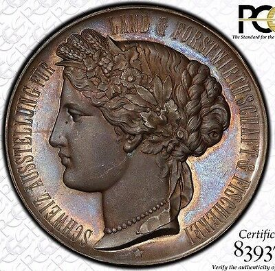 The Loveliest 1895 Bern-Switzerland Forestry-Fishing Expo Medal Pcgs Sp64 Toned