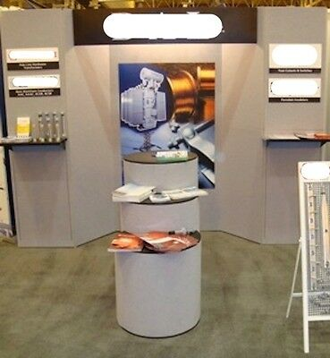 Trade Show Display Booth 10x10 Folding Panel w/ Tri-Level Display Unit & Shelves