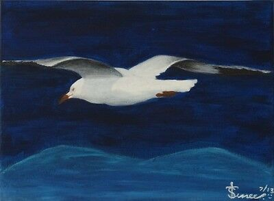 Art Original Acrylic New Handmade Painting seagull in Noosa by Sunlover.30x40cm.