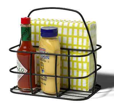 Napkin Holder Basket with Condiment Caddy Outdoor Picnic Table Bar BBQ Party