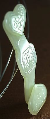 Antique Chinese Finely Carved White And Green Jade A Grade Belt Buckle Hook