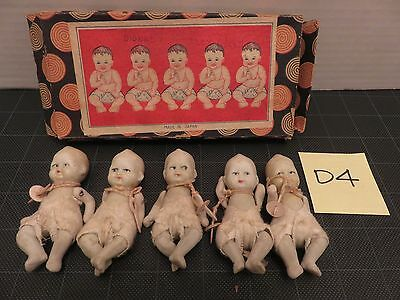 DIONNE QUINTUPLET DOLLS MADE IN JAPAN ORIGINAL BOX Bisque Jointed D4