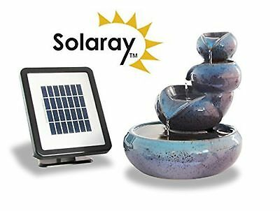 Water Feature Fountain Cascading 3 Tier Oil Jar Garden Outdoor Pond Solar Power