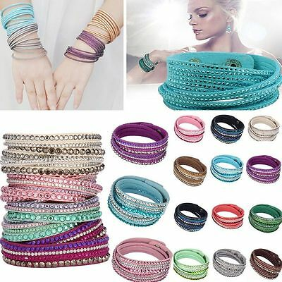 Rhinestone Punk Multilayer Wristband Crystal Leather Wrap Cuff Bracelet Bangle