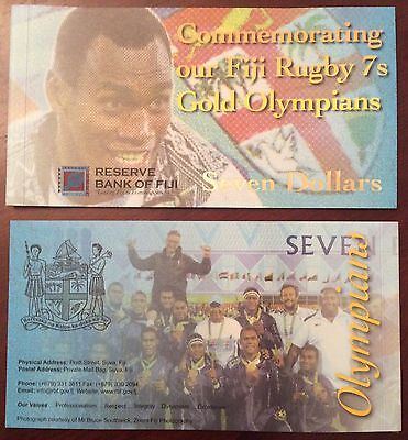 2017 Fiji $7 seven dollars FOLDER  rugby commemorative note UNC - NEW Release!