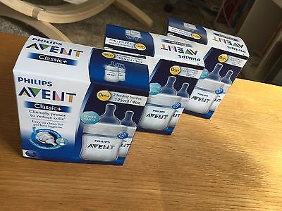 6 x Avent Classic+ baby bottles 0m+ BPA free 125ml AS NEW!!!!