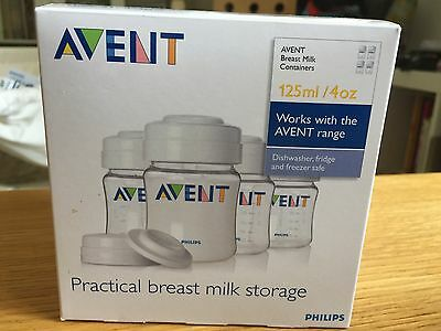 Avent 125ml storage / feeding bottles x 4