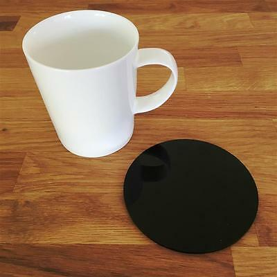 Round Black Gloss Finish Acrylic Coasters, Sets of 4, 6 or 8, 10cm 4""