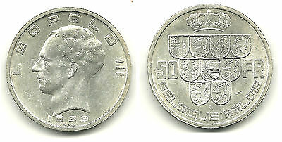 BELGIUM - Silver 50 Francs, 1939 - Leopold III Issue - NICE!