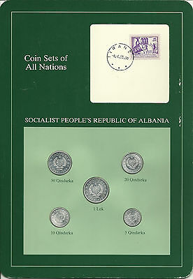 ALBANIA - Coin Sets of All Nations - 5 Coins + STAMP with POSTMARK, NICE!