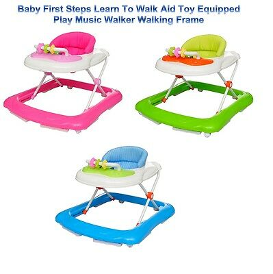 Baby First Steps Learn To Walk Aid Toy Equipped Play Music Walker Walking Frame