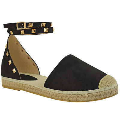 Womens Ladies Girls Flat Studded Ankle Strap Espadrilles Summer Shoes Sandals UK