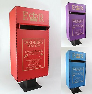 "Personalised Wedding Card Post Box, Royal Mail Style, Simple ""Push Fit"" Assembly"