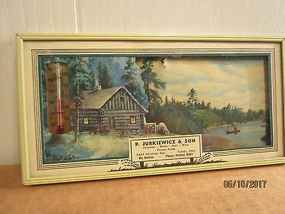 Vintage Advertiseing Picture Frame, With Scene & Thermometer, 1950S