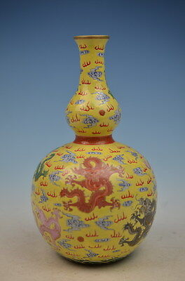 A Chinese beautiful  famille rose porcelain gilt gourd dragon vase