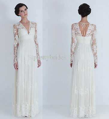 BRIDAL GOWN Maternity V Neck Wedding Dress With Long Sleeves 6 8 10 ...