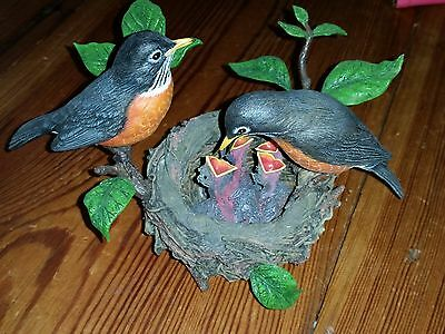 Danbury Mint Birds Figurine American Robins feeding babies in a nest by Bob Guge