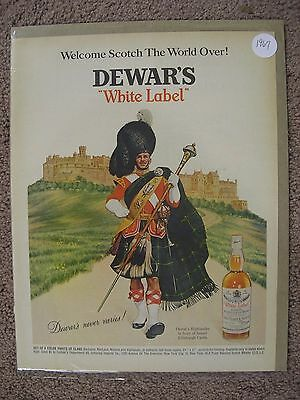 1967 Dewars White Label Scotch Whisky Large Full Page Color Ad Free Shipping