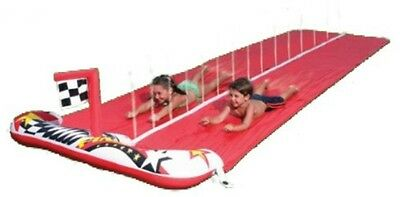 Raceway Inflatable Water Slide with Water Sprayer, Kids Garden Game, Red