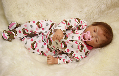 "Full Silicone Reborn Soft Vinyl 22"" Baby Doll Lifelike Dolls for Girl Boy Kids"