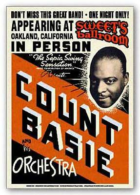 AFRICAN AMERICAN ART PRINT Count Basie Vintage Poster Reproduction 24x17 Teleky
