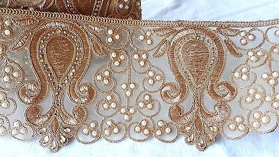 12cm- 1 meter Gorgeous dark gold floral beaded and pearls lace trim for crafts