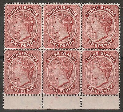 Turks Islands 1889 Qv 1D Block */** Wmk Crown Ca