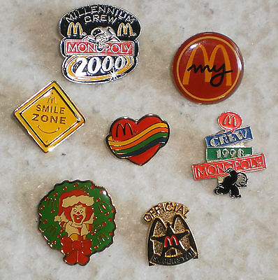 Lot of 7 McDonald's Pins Monopoly Christmas Official Superstar Smile Zone