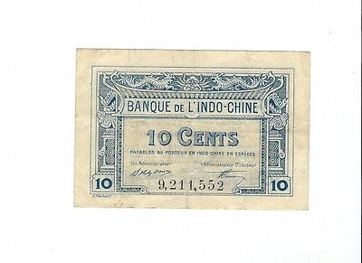 French Indochina - 10 Cents, 1919