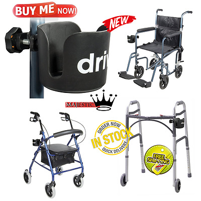 Universal Plastic Cup Holder For Transport Chairs Wheelchairs Rollators Walkers