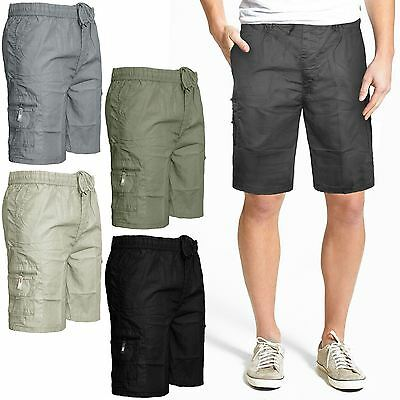 Summer mens Elasticated Plain Shorts Lightweight Cotton Cargo Choti Pants