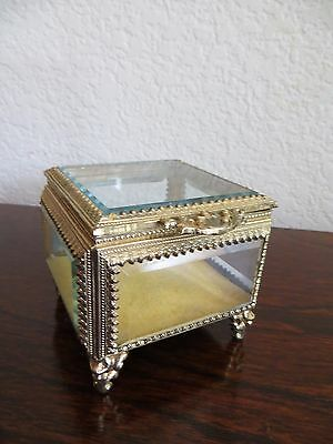Old Vintage  Beveled Glass  Gold Ormolu Casket Trinket Jewelry Box Filigree trim