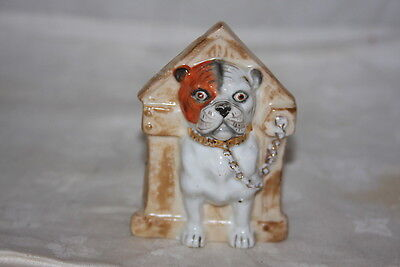 Antique EARLY BISQUE Figural Bulldog Pitbull in Dog House Gold Collar Ashtray