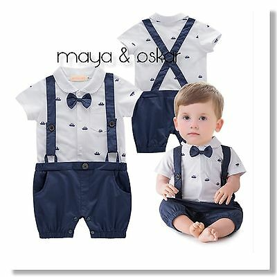 Baby Boys Navy Summer Party Wedding Smart Outfit Tuxedo Sailor Romper Set 3-18m