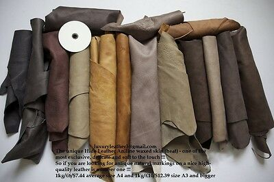 1kg Beautiful Large +++ scraps/ Off cuts Leather Italian -100gr GIFT
