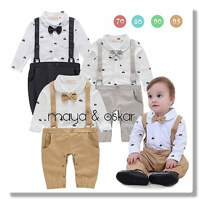 Baby Boys Black White Party Wedding Smart Outfit Tuxedo Sailor Romper Set 3-18m