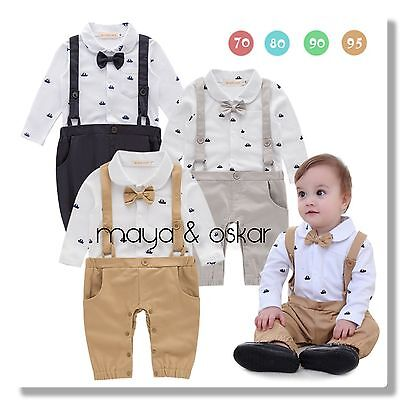 Baby Boys Navy White Party Wedding Smart Outfit Tuxedo Sailor Romper Set 6-24mth