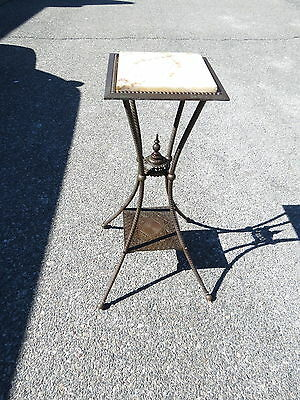 Antique Victorian Brass and Marble stand
