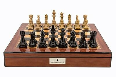 Dal Rossi Red and Box Wood Finish Chess Set Box 20″ with Compartments