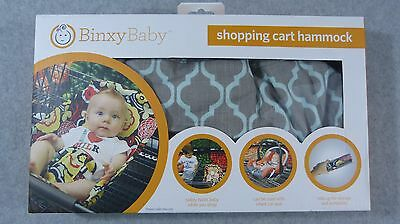 New! Binxy Baby Shopping Cart Hammock ~ Gray & Aqua ~ Free Shipping!